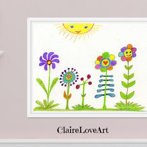 Mesebeli virágos kert, gyerekszoba dekoráció, színes virágos vidám falikép gyerekszobába, letölthető digitális kép , Gyerek & játék, Gyerekszoba, Baba falikép, Otthon & lakás, Dekoráció, Kép, Képzőművészet, Illusztráció, Fotó, grafika, rajz, illusztráció, Mesebeli virágos kép, mely digitálisan letölthető és nyomtatott változatban is megvásárolható. \n\nA k..., Meska