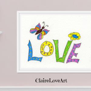 Love pillangóval, színes vidám gyerekszoba kép, Love felirat  színes pillangóval és virággal, falikép gyerekszobába, , Gyerek & játék, Gyerekszoba, Baba falikép, Otthon & lakás, Dekoráció, Kép, Képzőművészet, Illusztráció, Fotó, grafika, rajz, illusztráció, Love feliratú kép színes hangulatú pillangóval gyerekszobába, mely digitálisan letölthető és nyomtat..., Meska