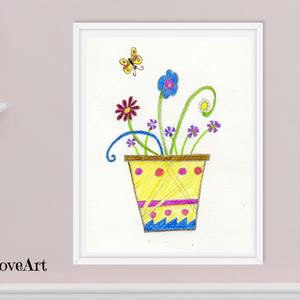 Színes virágok pillangóval, gyerekszoba dekoráció, mesebeli virágos kaspó pillangóval, letölthető digitális kép, virágok, Gyerek & játék, Gyerekszoba, Baba falikép, Otthon & lakás, Dekoráció, Kép, Képzőművészet, Illusztráció, Fotó, grafika, rajz, illusztráció, Mesebeli virágos kép sárga kaspóban színes pillangóval, mely digitálisan letölthető és nyomtatott vá..., Meska