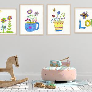 Vidám virágos falikép szett gyerekszobába, love feliratú virágos kép, pillangó és virág, letölthető digitális kép, Gyerek & játék, Gyerekszoba, Baba falikép, Otthon & lakás, Dekoráció, Kép, Képzőművészet, Fotó, grafika, rajz, illusztráció, Színes ceruzával készült 4 darab gyerekszoba kép színpompás virágokkal. A szett most kedvezménnyel é..., Meska
