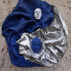 yin-yang, Otthon & lakás, Dekoráció, Kép, Képzőművészet, Napi festmény, kép, Lakberendezés, Falikép, Újrahasznosított alapanyagból készült termékek, Festett tárgyak, A képeket paverpol (textil szobrászat) technikával készítettem, újrahasznosított anyagokból.\nÉlénk s..., Meska