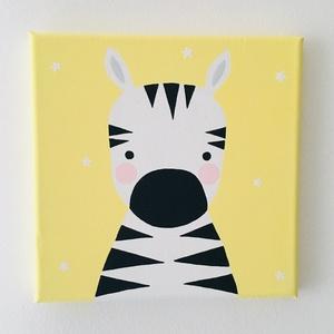 Baby zebra gyerekszoba falikép, Otthon & Lakás, Kép & Falikép, Dekoráció, Baby zebra gyerekszoba faliképemet feszített vászonkeretre festettem vízbázisú akrilfestékkel.  Mére..., Meska