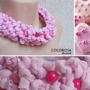 Ünnepre hangolva. Textil nyaklánc , Statement nyaklánc, Nyaklánc, Ékszer, Ékszerkészítés, Újrahasznosított alapanyagból készült termékek, Baba rózsa szín pólóanyagból készült ez a kis nyakmelegítő-nyaklánc, pink és puncs színű gyöngyöcské..., Meska