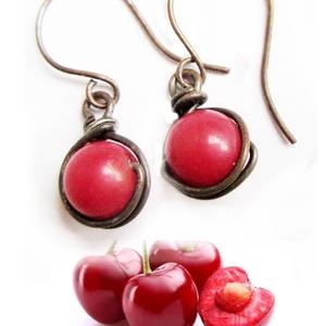 Az első két cseresznye a fámon. Korall fülbevaló (colorosa) - Meska.hu