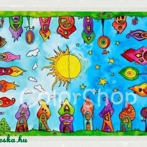 Szivárványváros tányéralátét A4, Gyerek & játék, Konyhafelszerelés, Otthon & lakás, Edényalátét, Baba-mama kellék, Fotó, grafika, rajz, illusztráció, Mindenmás, Új Szivárványváros tányéralátét formájában.\n\nMost a nappal és az éjszaka váltakozása kapott hangsúly..., Meska