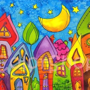 Csendes éj - reprodukció A4, Gyerek & játék, Lakberendezés, Otthon & lakás, Dekoráció, Képzőművészet, Fotó, grafika, rajz, illusztráció, Szivárvány színű mese városkám másolata.\n\nA reprókat azoknak ajánlom, akik az eredeti akvarelleknél ..., Meska