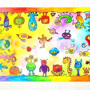 Szörnyecskés tányéralátét A4, Gyerek & játék, Lakberendezés, Otthon & lakás, Konyhafelszerelés, Edényalátét, Fotó, grafika, rajz, illusztráció, Mindenmás, Ezen a tányéralátéten vidám szörnyecskék masíroznak körbe körbe... :)\n\nHasznos kellék evéskor, gyurm..., Meska