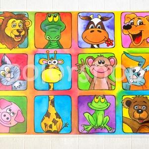 Állatkert, állatos tányéralátét A4, Gyerek & játék, Lakberendezés, Otthon & lakás, Konyhafelszerelés, Edényalátét, Fotó, grafika, rajz, illusztráció, Mindenmás, Sok sok állat, már majdnem állatkert: oroszlán, krokodil, boci, kutya, cica, zsiráf, majom, nyuszi, ..., Meska