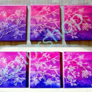 Cseresznyefa ág - 3 részes akril festmény vásznon (colorshop) - Meska.hu