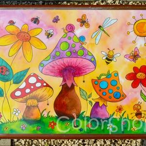 Nagy tányéralátét - Tavaszi zsongás (A3), Gyerek & játék, Lakberendezés, Otthon & lakás, Konyhafelszerelés, Edényalátét, Fotó, grafika, rajz, illusztráció, Mindenmás, Vidd be a vidámságot és a színeket a konyhába (meg ahova csak akarod :))\n\nEzen az alátéten színes go..., Meska
