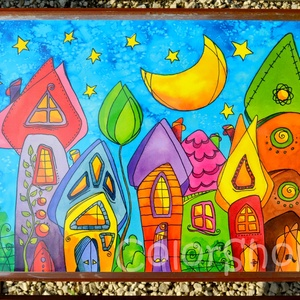 Nagy tányéralátét - Szivárványváros (A3), Gyerek & játék, Lakberendezés, Otthon & lakás, Konyhafelszerelés, Edényalátét, Fotó, grafika, rajz, illusztráció, Mindenmás, Vidd be a vidámságot és a színeket a konyhába (meg ahova csak akarod :))\n\nEzen az alátéten szivárván..., Meska