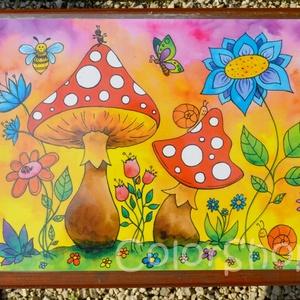 Nagy tányéralátét (A3) - Gombák, Gyerek & játék, Konyhafelszerelés, Otthon & lakás, Edényalátét, Baba-mama kellék, Fotó, grafika, rajz, illusztráció, Mindenmás, Vidd be a természetet a konyhába (meg ahova csak akarod :))\n\nGombák, virágok, kis bogarak, akik mind..., Meska