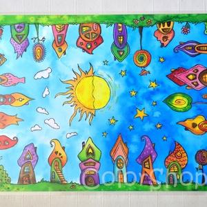 Nagy tányéralátét (A3) - SZIVÁRVÁNYVÁROS, Gyerek & játék, Konyhafelszerelés, Otthon & lakás, Edényalátét, Baba-mama kellék, Fotó, grafika, rajz, illusztráció, Mindenmás, Tányéralátét szivárványos városkámmal.\n\nItt aztán van mit bogarászni körbe-körbe :) Vidám színek, ke..., Meska