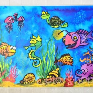 Nagy tányéralátét (A3) - TENGER, Gyerek & játék, Konyhafelszerelés, Otthon & lakás, Edényalátét, Baba-mama kellék, Fotó, grafika, rajz, illusztráció, Mindenmás, Tányéralátét tengeri élőlényekkel.\n\nVizet és vízi világot imádó gyerkőcöknek!\n\nVannak gyerekek, akik..., Meska