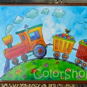 Nagy tányéralátét (A3) - KISVONAT, Gyerek & játék, Konyhafelszerelés, Otthon & lakás, Edényalátét, Baba-mama kellék, Fotó, grafika, rajz, illusztráció, Mindenmás, Tányéralátét egy pöfögő kisvonattal, ami színes cukorkákat szállít. Persze csakis reggeli és/vagy eb..., Meska