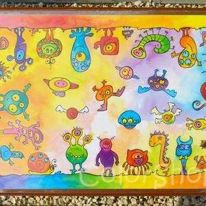 Nagy tányéralátét  A3 - SZÖRNYECSKÉK, Gyerek & játék, Lakberendezés, Otthon & lakás, Konyhafelszerelés, Edényalátét, Fotó, grafika, rajz, illusztráció, Mindenmás, Ezen a tányéralátéten vidám szörnyecskék masíroznak körbe körbe... :)\n\nVannak gyerekek, akiket nehéz..., Meska