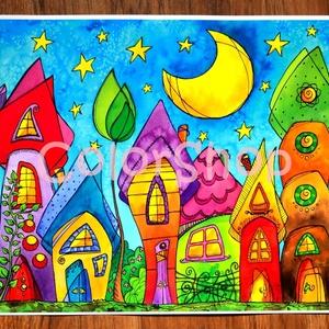 Szivárványváros éjjel - nagy, A3-as print, Gyerek & játék, Lakberendezés, Otthon & lakás, Dekoráció, Gyerekszoba, Fotó, grafika, rajz, illusztráció, Szivárvány színű mese városkám másolata.\n\nA printeket azoknak ajánlom, akik az eredeti akvarelleknél..., Meska