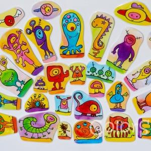 Szörnyikés hűtőmágnes készlet - 31 db-os, Gyerek & játék, Konyhafelszerelés, Otthon & lakás, Hűtőmágnes, Játék, Fotó, grafika, rajz, illusztráció, Mindenmás, Csempéssz egy kis színt és vidámságot a konyhába!\n\n31 db vidám szörnyecske, akiket össze-vissza lehe..., Meska
