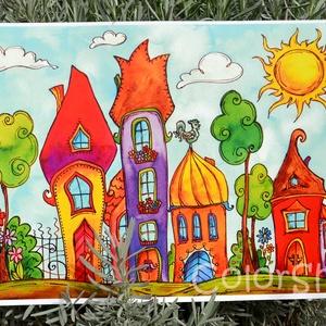 Szivárványváros - nagy, A3-as print, Gyerek & játék, Lakberendezés, Otthon & lakás, Dekoráció, Gyerekszoba, Fotó, grafika, rajz, illusztráció, Szivárvány színű mese városkám másolata.\n\nA printeket azoknak ajánlom, akik az eredeti akvarelleknél..., Meska