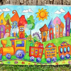Nagy tányéralátét - Szivárványváros és kisvonat (A3), Gyerek & játék, Lakberendezés, Otthon & lakás, Konyhafelszerelés, Edényalátét, Fotó, grafika, rajz, illusztráció, Mindenmás, Vidd be a vidámságot és a színeket a konyhába (meg ahova csak akarod :))\n\nSzivárványváros ezen a kép..., Meska