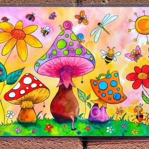 Tányéralátét A4- Tavaszi zsongás, Gyerek & játék, Lakberendezés, Otthon & lakás, Konyhafelszerelés, Edényalátét, Fotó, grafika, rajz, illusztráció, Mindenmás, Vidd be a vidámságot és a színeket a konyhába (meg ahova csak akarod :))\n\nEzen az alátéten színes go..., Meska