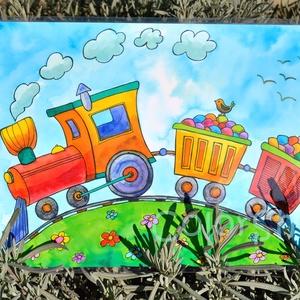 Kis vonatos tányéralátét A4, Gyerek & játék, Lakberendezés, Otthon & lakás, Konyhafelszerelés, Edényalátét, Fotó, grafika, rajz, illusztráció, Mindenmás, Erre a tányéralátétre egy kis színes gőzös vonat került, ami színes cukorkákat szállít. Egy kis madá..., Meska