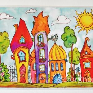 """Nagy tányéralátét - """"Virágos"""" Szivárványváros (A3), Otthon & Lakás, Tányér- és poháralátét, Konyhafelszerelés, Vidd be a vidámságot és a színeket a konyhába (meg ahova csak akarod :))  Szivárványváros sok virágg..., Meska"""