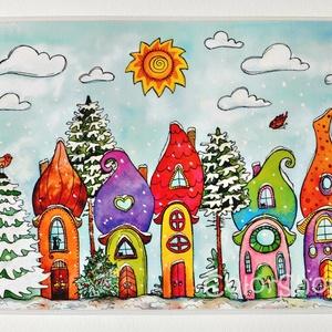 Nagy tányéralátét - Szivárványváros télen (A3), Gyerek & játék, Lakberendezés, Otthon & lakás, Konyhafelszerelés, Edényalátét, Fotó, grafika, rajz, illusztráció, Mindenmás, Vidd be a vidámságot és a színeket a konyhába (meg ahova csak akarod :))\n\nEzen az alátéten egy téli ..., Meska