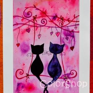 Hintázó cicák - A3-as print, Gyerek & játék, Dekoráció, Otthon & lakás, Lakberendezés, Esküvő, Szerelmeseknek, Ünnepi dekoráció, Fotó, grafika, rajz, illusztráció, Szerelmes cicák hintáznak a szívfára kötött hintán :)\n\nKedves ajándék lehet bárkinek, akit szeretsz,..., Meska