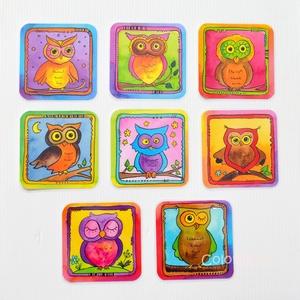 Poháralátét - Baglyok (8db-os készlet), Gyerek & játék, Konyhafelszerelés, Otthon & lakás, Edényalátét, Lakberendezés, Fotó, grafika, rajz, illusztráció, A tányéralátéteket kiegészítendő készítettem poháralátét készleteket is.\n\nEz itt a cuki színes bagly..., Meska