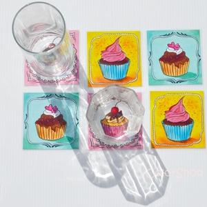Poháralátét - Cupcake (6db-os készlet) (colorshop) - Meska.hu