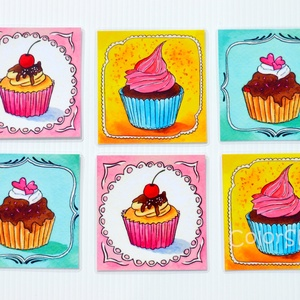 Poháralátét - Cupcake (6db-os készlet), Gyerek & játék, Konyhafelszerelés, Otthon & lakás, Edényalátét, Lakberendezés, Fotó, grafika, rajz, illusztráció, A tányéralátéteket kiegészítendő készítettem poháralátét készleteket is.\n\nEz itt a cupcake-ek készle..., Meska