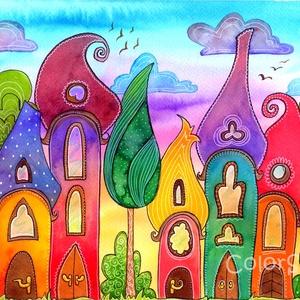 Szivárványváros naplementében (05) - eredeti akvarell A4, Lakberendezés, Otthon & lakás, Dekoráció, Gyerek & játék, Gyerekszoba, Fotó, grafika, rajz, illusztráció, Festészet, Sosem festettem még Szivárványvárost naplementés háttérrel, hát épp itt volt az ideje :)\nVidd haza a..., Meska