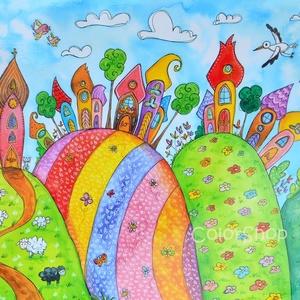 Nagy tányéralátét - Szivárványváros dombokon (A3), Gyerek & játék, Lakberendezés, Otthon & lakás, Konyhafelszerelés, Edényalátét, Fotó, grafika, rajz, illusztráció, Mindenmás, Vidd be a vidámságot és a színeket a konyhába (meg ahova csak akarod :))\n\nEzen az alátéten dombokon ..., Meska