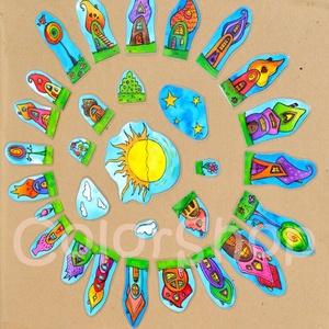 Szivárványváros hűtőmágnes készlet (30 db-os!), Gyerek & játék, Konyhafelszerelés, Otthon & lakás, Hűtőmágnes, Lakberendezés, Fotó, grafika, rajz, illusztráció, Mindenmás, Szivárványváros végre hűtőmágnes készlet formájában.\n\nNagy móka pakolászni a házikókat, a növényeket..., Meska