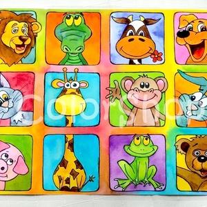 Nagy Állatos tányéralátét (A3), Gyerek & játék, Lakberendezés, Otthon & lakás, Konyhafelszerelés, Edényalátét, Fotó, grafika, rajz, illusztráció, Mindenmás, Vidd be az állatkertet a konyhába (meg ahova csak akarod :))\n\nVannak gyerekek, akiket nehéz az aszta..., Meska