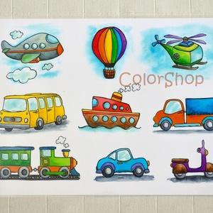 Járművek - tányéralátét A4, Gyerek & játék, Konyhafelszerelés, Otthon & lakás, Edényalátét, Baba-mama kellék, Fotó, grafika, rajz, illusztráció, Mindenmás, Végre a fiúknak is valami ;)\n\n9 különböző jármű. A picik gyakorolhatják a neveiket, a színeket, mikö..., Meska