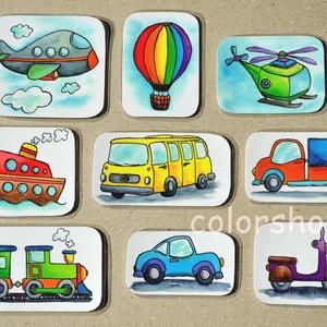 Járművek - hűtőmágnes készlet (9 db-os), Hűtőmágnes, Konyhafelszerelés, Otthon & Lakás, Fotó, grafika, rajz, illusztráció, Mindenmás, Végre a fiúknak is valami ;)\n\n9 különböző jármű. A picik gyakorolhatják a neveiket, a színeket, mikö..., Meska