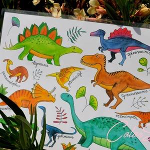 DÍNÓK - Nagy tányéralátét (A3), Gyerek & játék, Otthon & lakás, Konyhafelszerelés, Edényalátét, Gyerekszoba, Fotó, grafika, rajz, illusztráció, Mindenmás, Dinoszauruszokat kedvelő gyerekek kedvében akartam járni ezzel az alátéttel.\n\nA szülők segítségére, ..., Meska