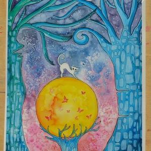 Kék erdő  - Print A4, Művészet, Művészi nyomat, Fotó, grafika, rajz, illusztráció, Varázslatos kék erdő fehér cicával a középpontban :)\n\nAkvarell képemről készült print 250 g-os műnyo..., Meska