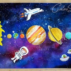 Figurák + Bolygók, világűr - nagy tányéralátét (A3), Otthon & Lakás, Konyhafelszerelés, Tányér- és poháralátét, Van egy másik tányéralátét bolygókkal, a különbség annyi, hogy ezen figurák is vannak :D Űrhajós, űr..., Meska