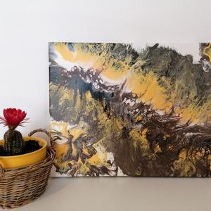 Kanyon/Akrilfestmény/Festmény, Akril, Festmény, Művészet, Festészet, Folyatott technikával készült akrilfestmény, 30×40cm feszített vászon, 2cm magas. Kellemes, megnyugt..., Meska