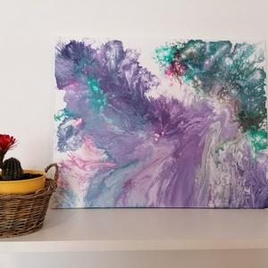 Akrilfestmény, pasztell színek, Otthon & lakás, Dekoráció, Kép, Festészet, Feszített vászonra-, akrilfolyatásos technikával készült pasztellszínű, 50×40cm-es festmény. Kérésre..., Meska
