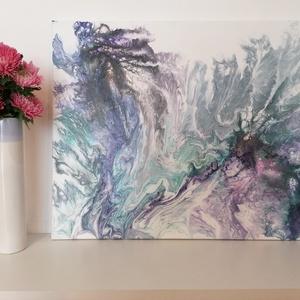 Folyatásos akrilfestmény, Otthon & lakás, Dekoráció, Kép, Festészet, 50×40cm-es, pasztellszínű, lila-kék-pink-zöld árnyalatú, megnyugtató hangulatú akrilfestmény.\n..., Meska