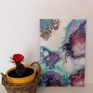 Akrilfestmény, fluid art stílusban, Otthon & lakás, Dekoráció, Kép, Festészet, 20×30cm-es feszített vászon akrilkép, markáns színvilággal\nKérésre egyedi igényeknek megfelelő festm..., Meska