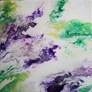 Ametiszt/Fluid art, Kép & Falikép, Dekoráció, Otthon & Lakás, Festészet, Ásványszerűen erezett, lilás, ezüstös mintázat zölddel körülvéve. 30x30 feszített vászon. Ezekkel a ..., Meska