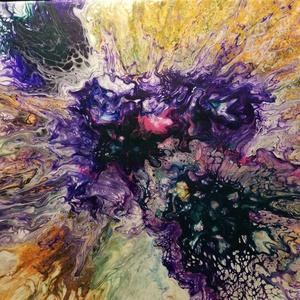 Őszi virág/Akrilfestmény, Akril, Festmény, Művészet, Festészet, Őszi színekből összeállított nagy virágfej. A kép részleteiben különleges, kihálósodó festékhatások,..., Meska