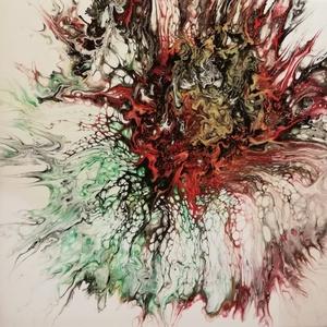 Őszi virág II./Festmény/Akril, Akril, Festmény, Művészet, Festészet, A vásznat kitöltő tömör virágfej az ősz színeiben. Vidám, piros részletek, kontrasztot biztosító fek..., Meska