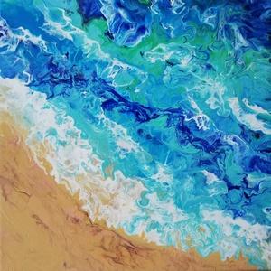 Tengerpart/Festmény, Akril, Festmény, Művészet, Festészet, Hullámverés aranyszínű homokon. A tenger színei egy meleg, nyári napot idéznek fel. 30x30 cm-es vász..., Meska