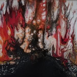 Tűznyelvek I./Folyatásos akrilfestmény, Akril, Festmény, Művészet, Festészet, Fekete és fehér, osztott alapon vörös-narancs lángnyelvek. 20x30 cm-es, fényes, lakkozott, nagyon él..., Meska